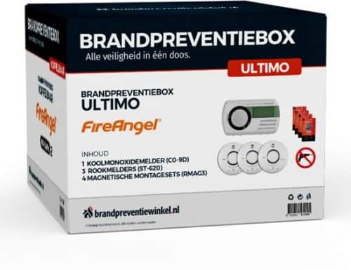 Brandpreventiebox Ultimo - 3 x FireAngel Rookmelders 10 jr - 1 First Alert Koolmonoxidemelder 7 jr - 4 x magnetische montagesets