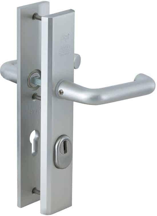 Nemef veiligheidsdeurbeslag 3417 - Kruk/Kruk - Met kerntrekbeveiliging - Afstand 55mm - SKG*** - Aluminium