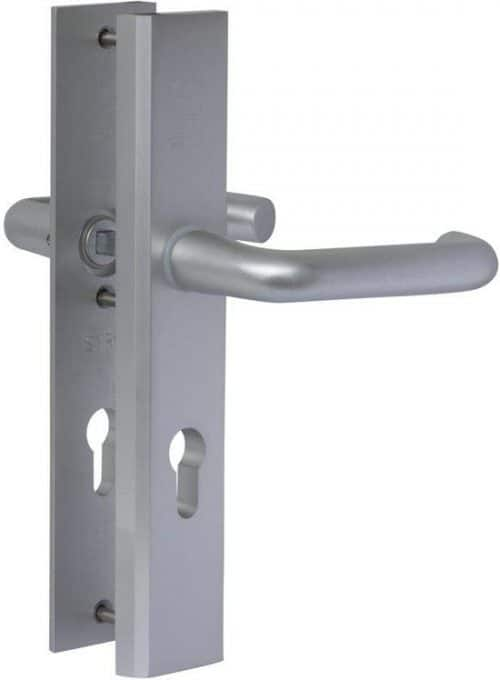 Nemef veiligheidsdeurbeslag 3417 - Kruk/Kruk - Met kerntrekbeveiliging - Afstand 72mm - SKG*** - Aluminium - In zichtverpakking