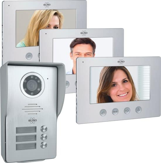 ELRO DV477W3 Video Deur Intercom - 3 Appartementen - Met 3x 7 inch kleurenscherm