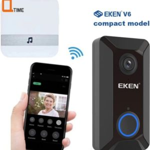 EKEN V6 HD video deurbel met camera - inclusief Oplaadbare Samsung Batterijen - Inclusief Gong met 52 beltonen - Nederlandse gebruiksaanwijzing - Door Q-time samengesteld pakket