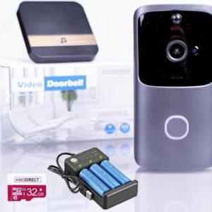 KIMO DIRECT Slimme Video Deurbel met Camera - Helemaal compleet - Gong SD kaart 3 Oplaadbare Batterijen Batterij Oplader - Beveiligingscamera - Bewegingsdetectie - Werkt op Batterij of Stroom - Vaderdag kado